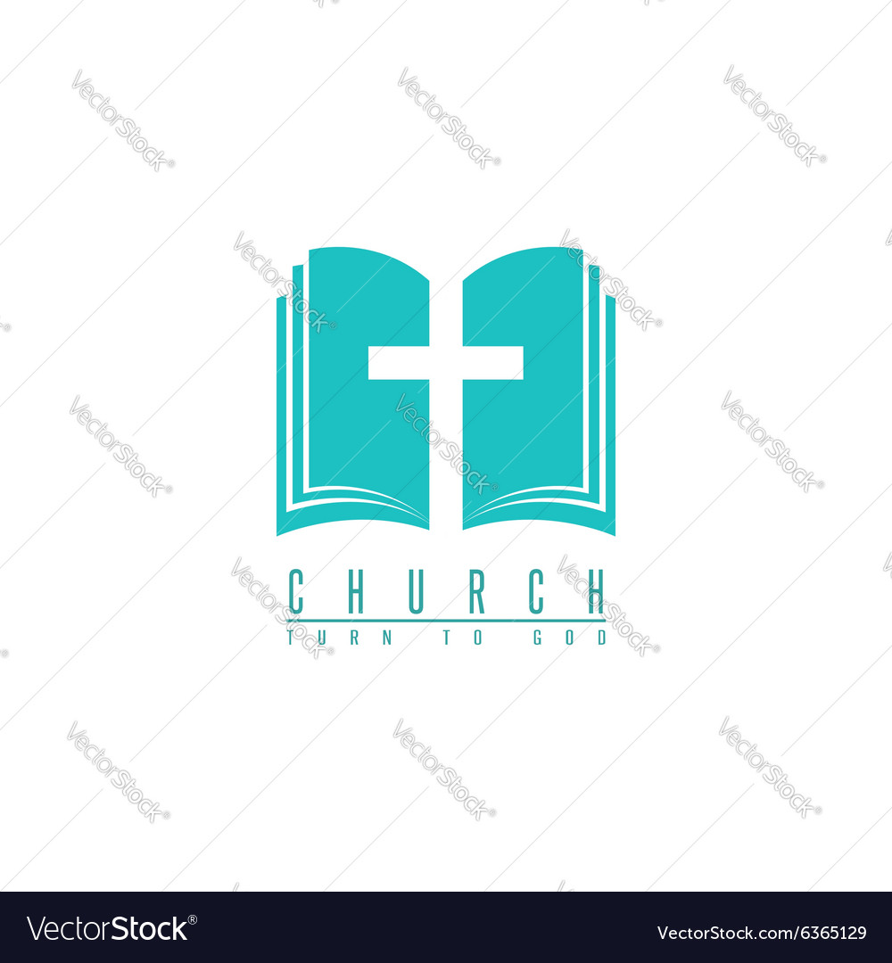 Church logo cross and abstract bible religion