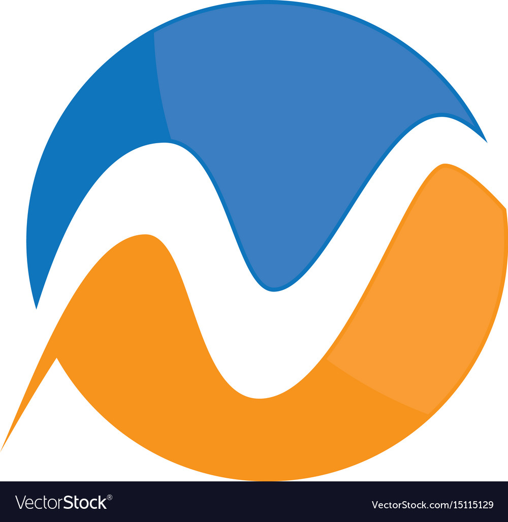 Circle wave business logo vector image