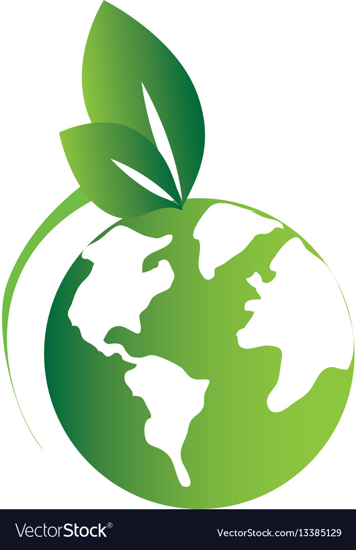 Green silhouette with world map and leaves