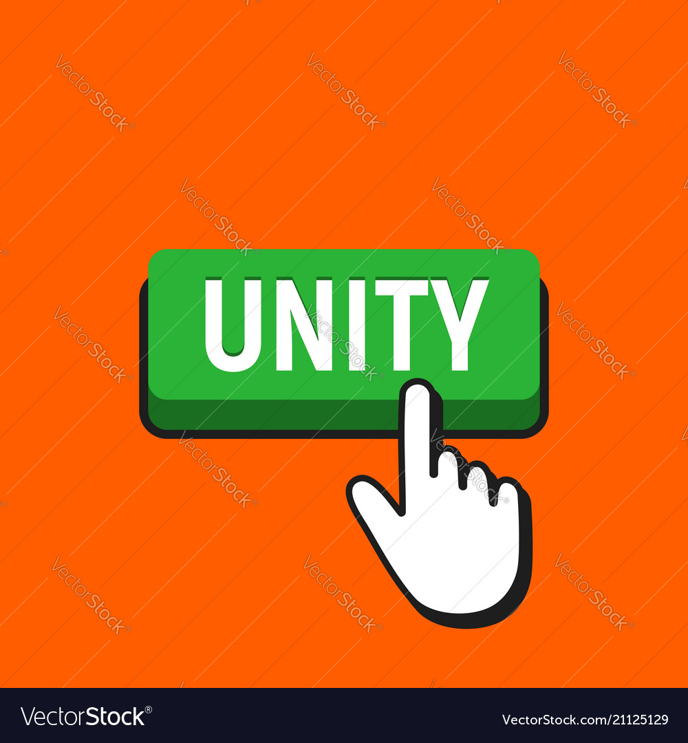 Hand mouse cursor clicks the unity button