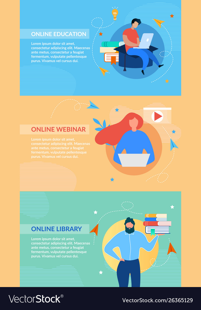 Online Education Header Banners Set On Color Space