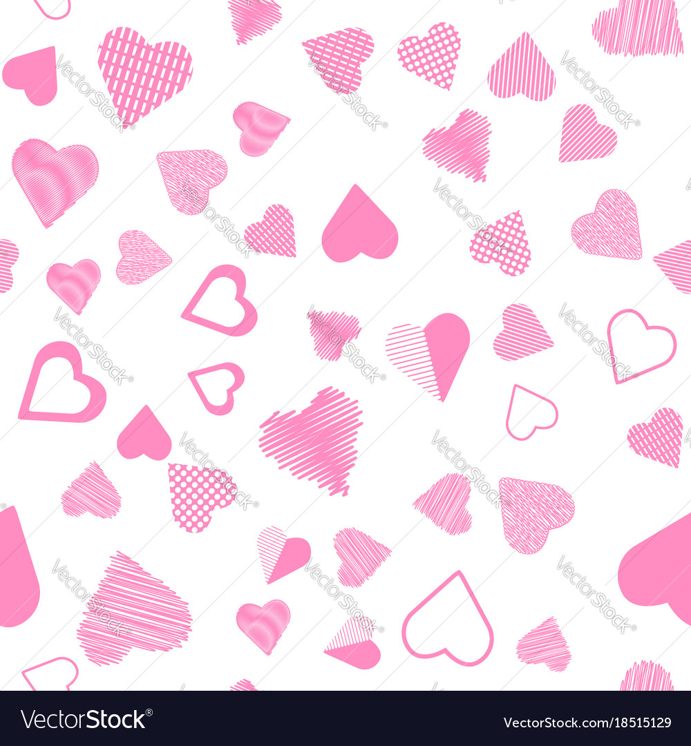 Romantic pink heart seamless pattern