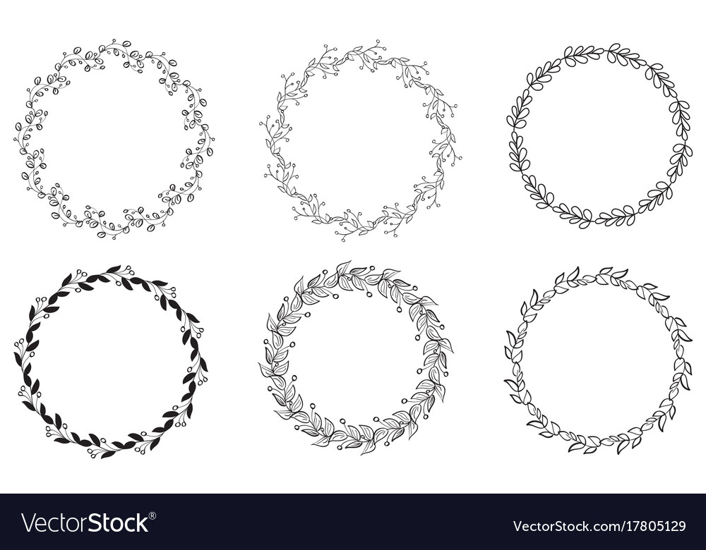 Set of decorative round frame and borders art Vector Image