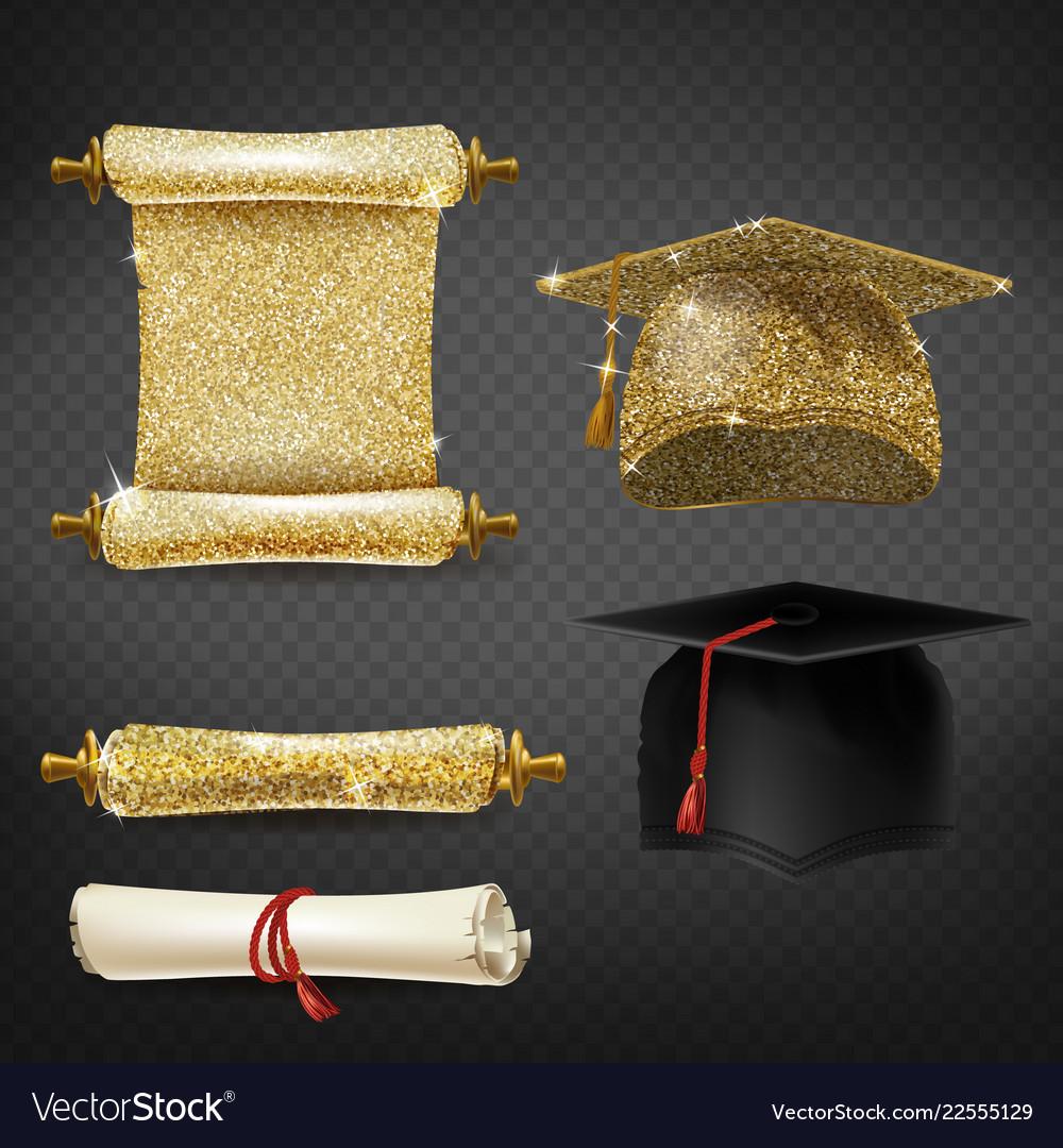 Set with graduation caps and diplomas