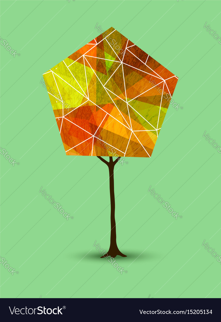 Autumn tree in abstract geometry shape style