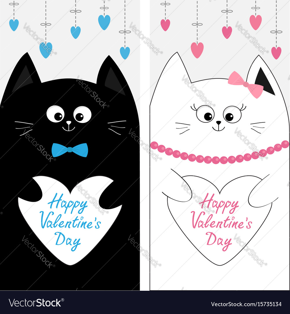 Cat family couple holding white heart shape paper vector image