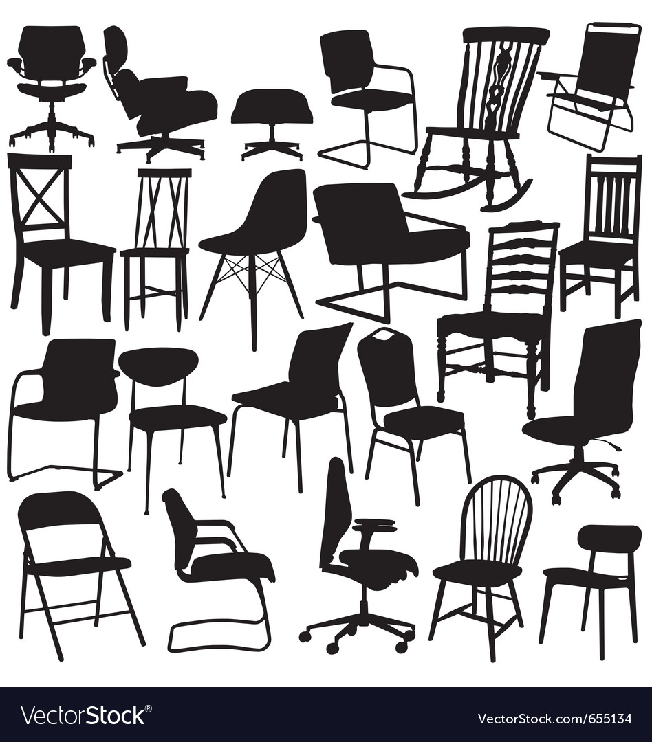 Chair silhouettes on white background vector image
