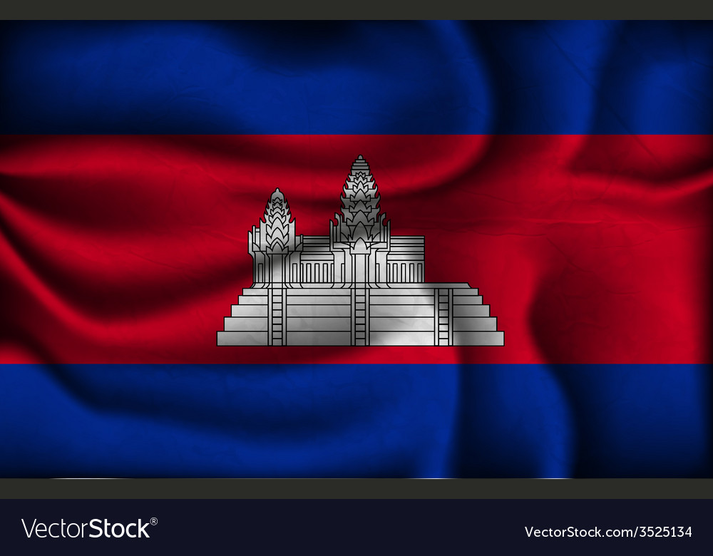 Crumpled flag of Cambodia on a light background