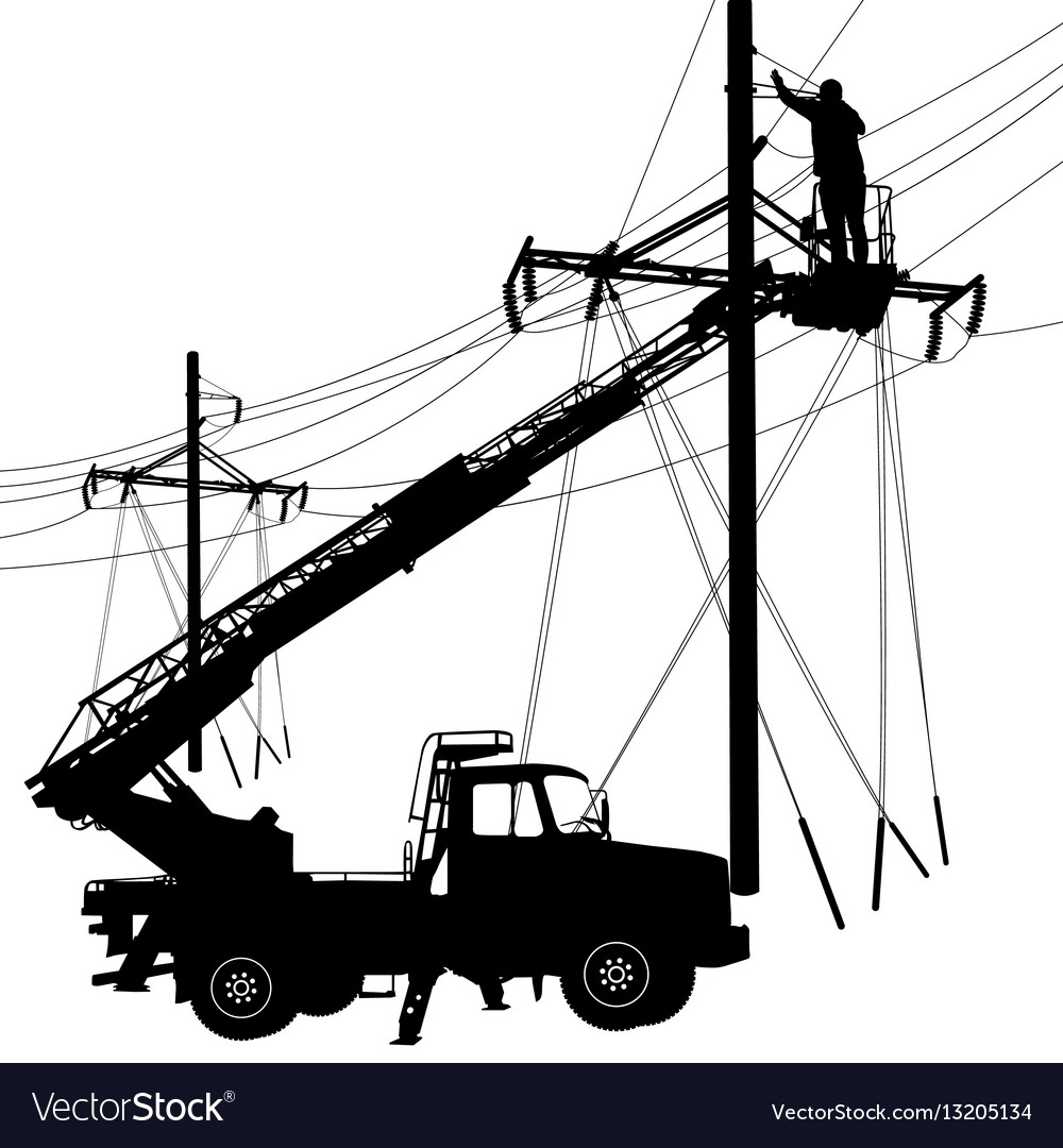 Electrician making repairs at a power pole vector image