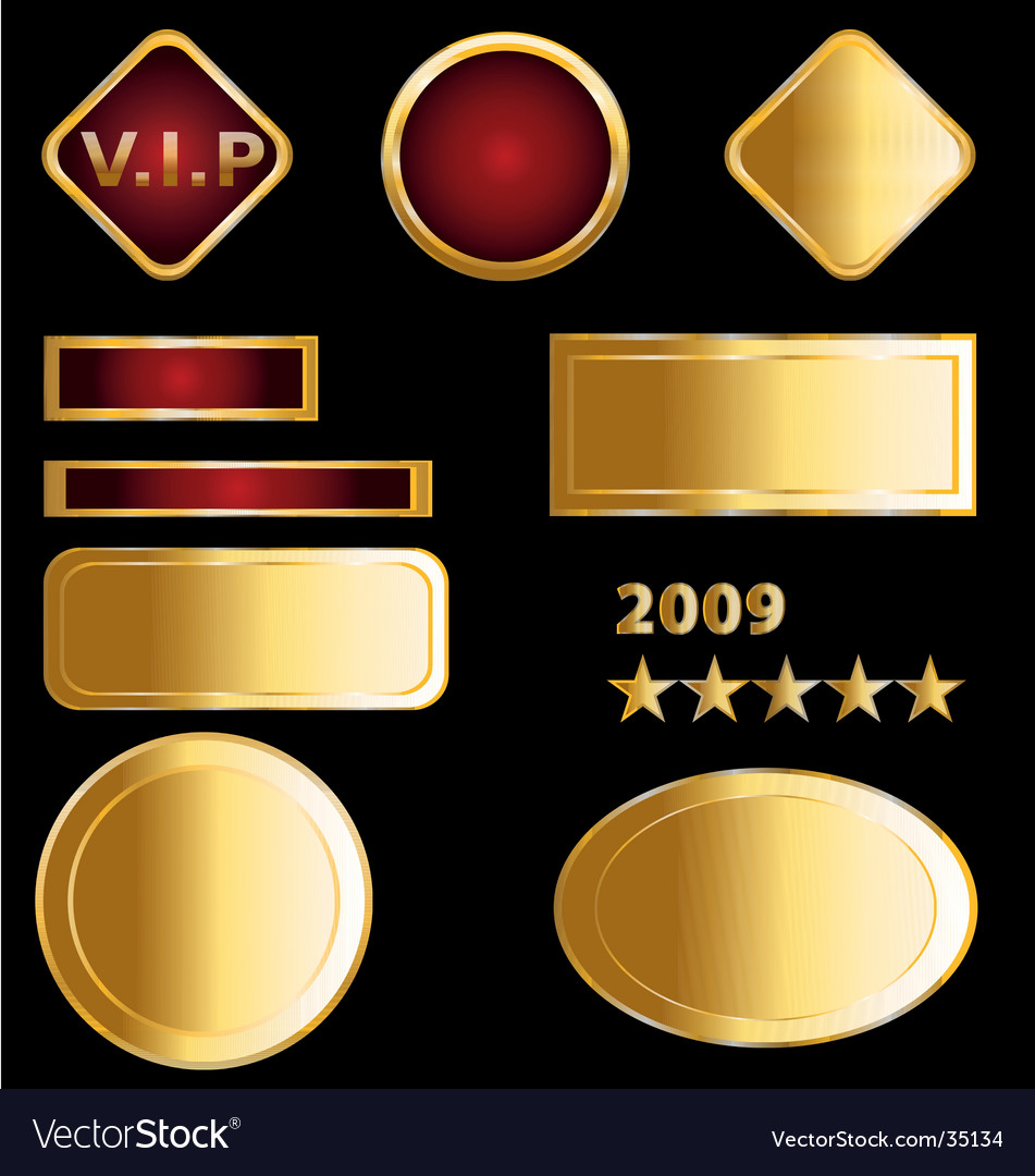 Gold labels and medals vector image