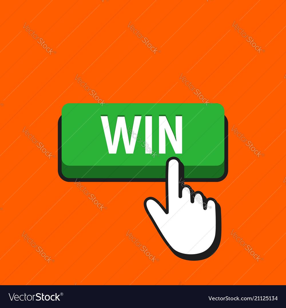 Hand mouse cursor clicks the win button