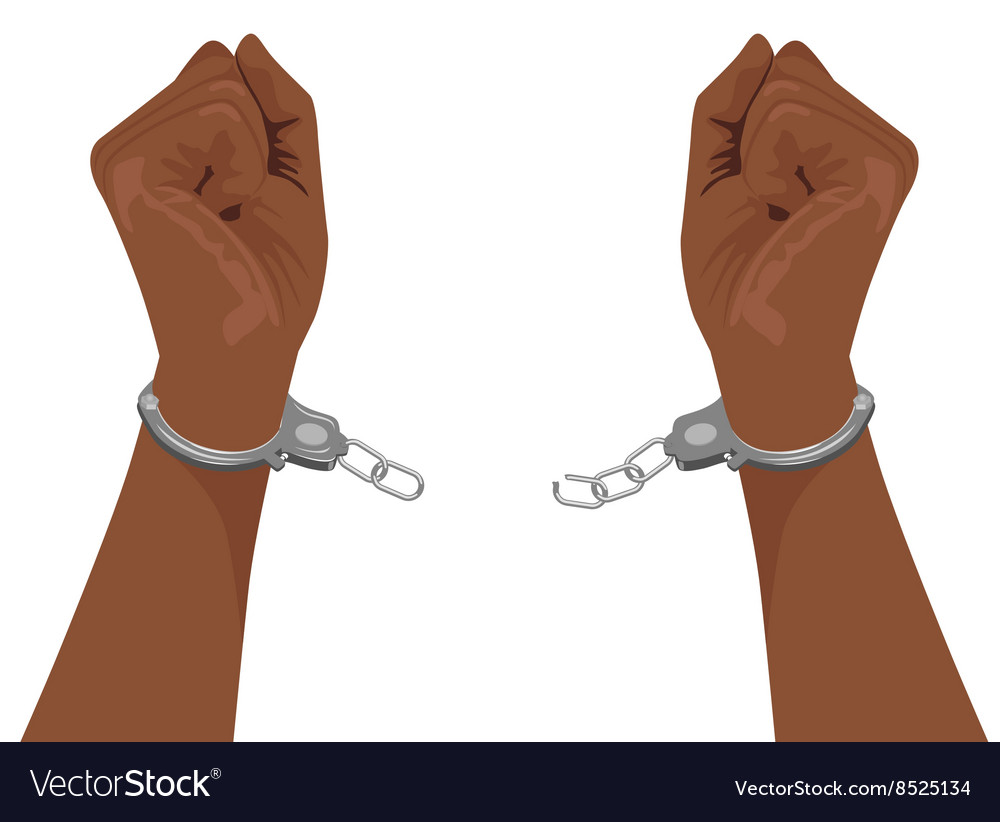Hands of african american man breaking handcuffs