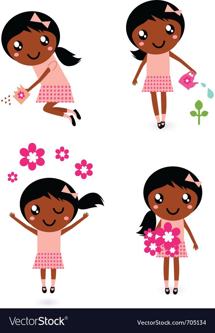 Little cute gardener girl