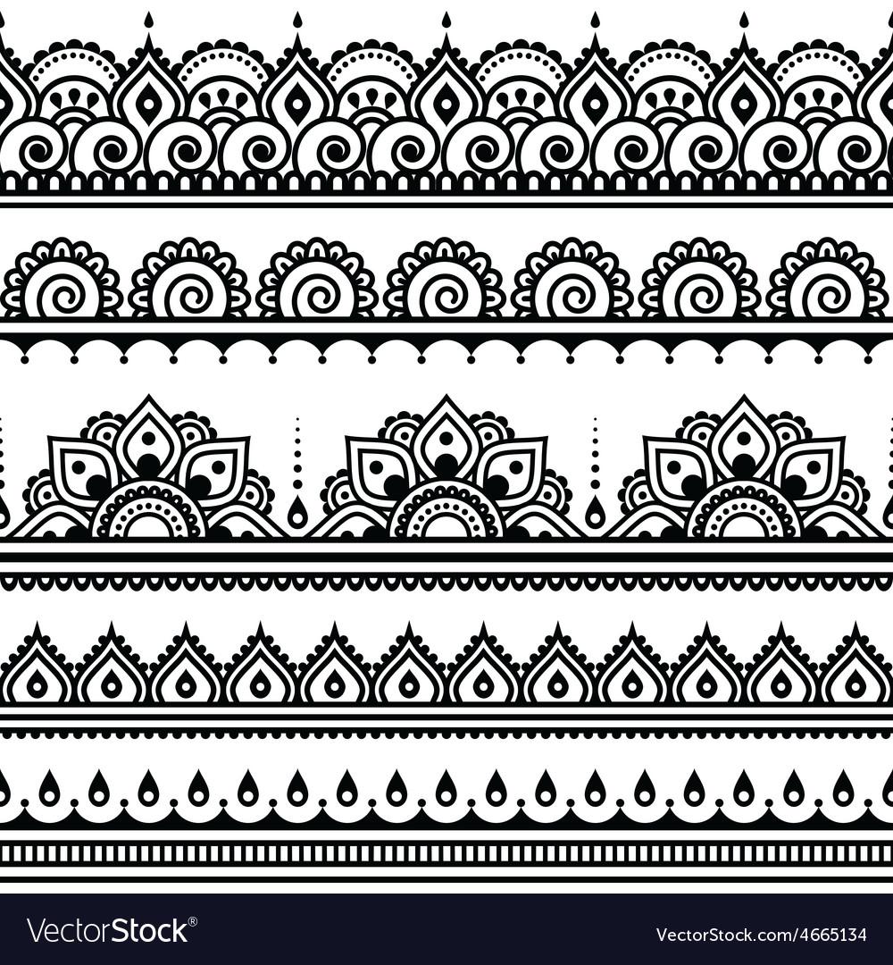 Mehndi Indian Henna tattoo seamless pattern desi vector image