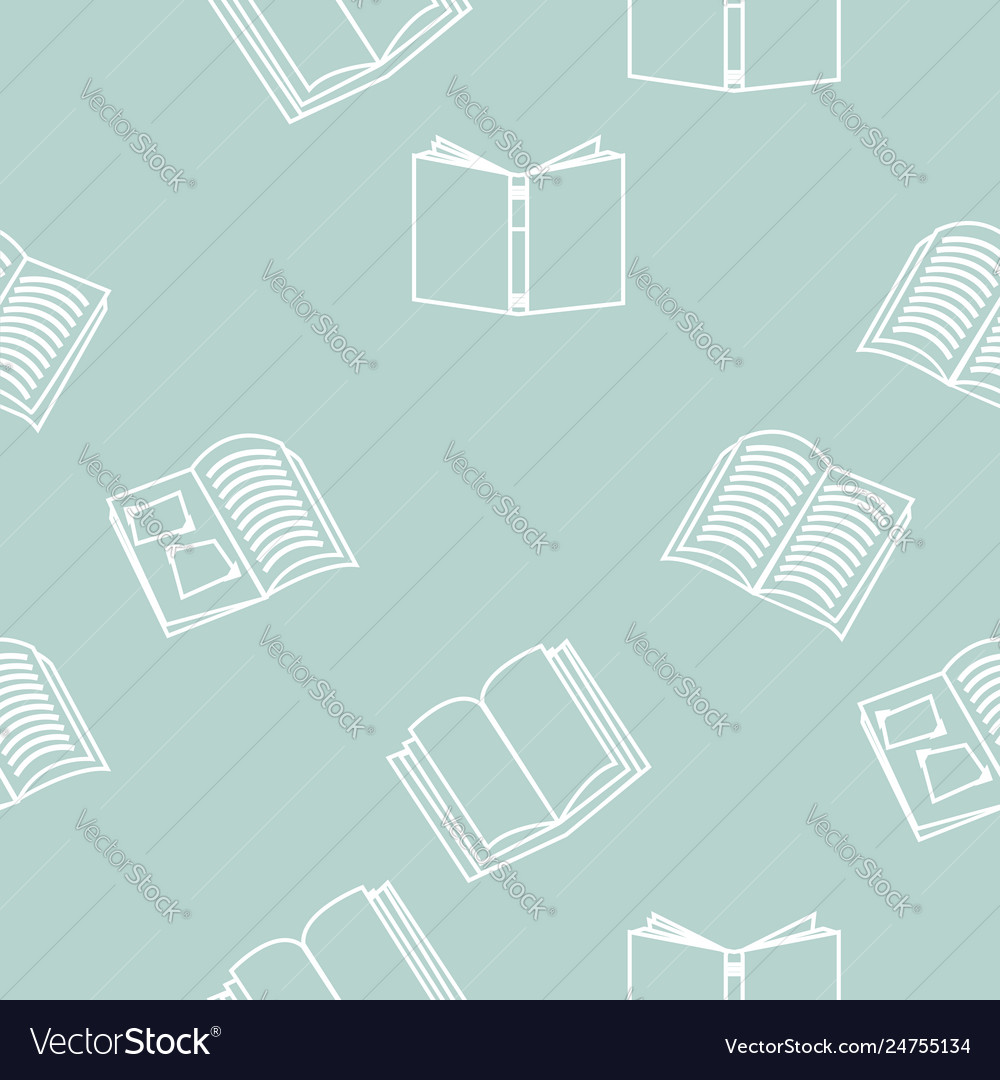 Open books outline seamless pattern