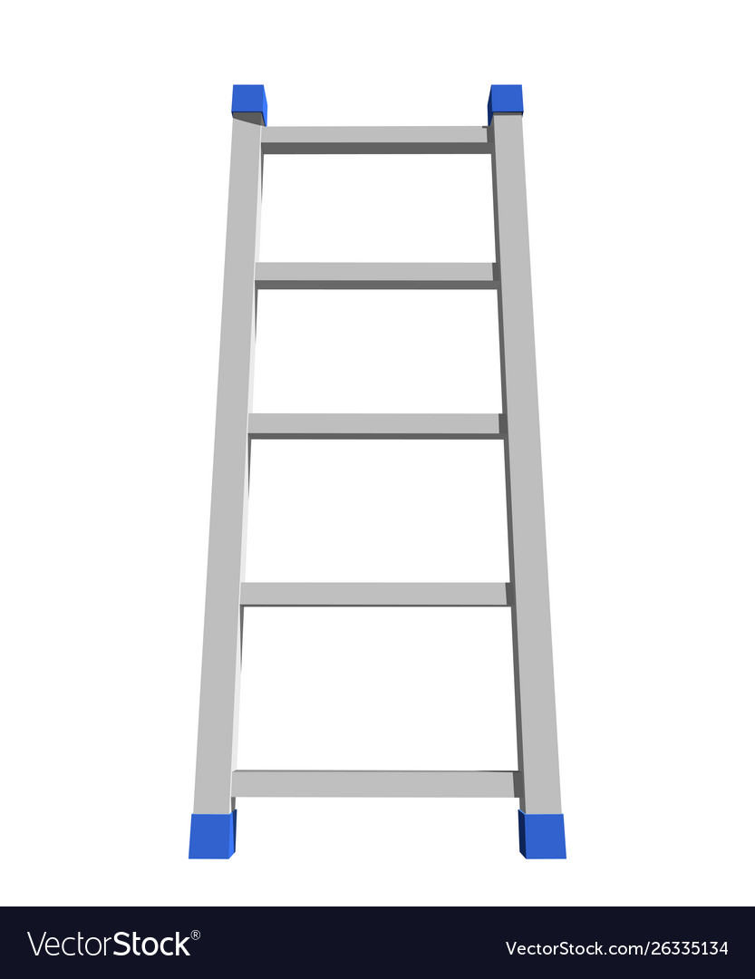 Realistic metal staircase on a white background