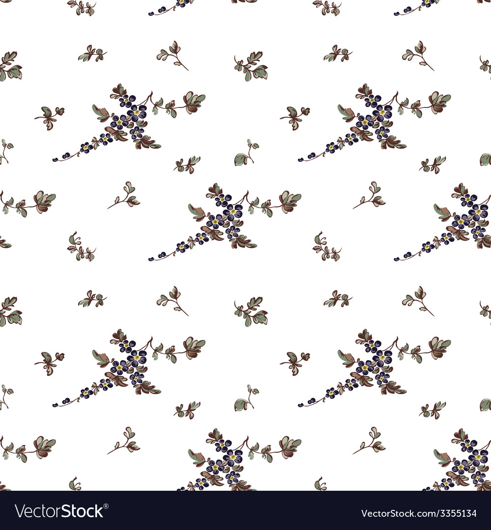 Seampless pattern floral white background vector image