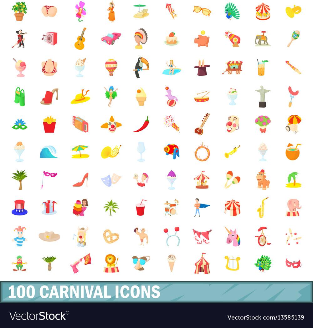 100 carnival icons set cartoon style