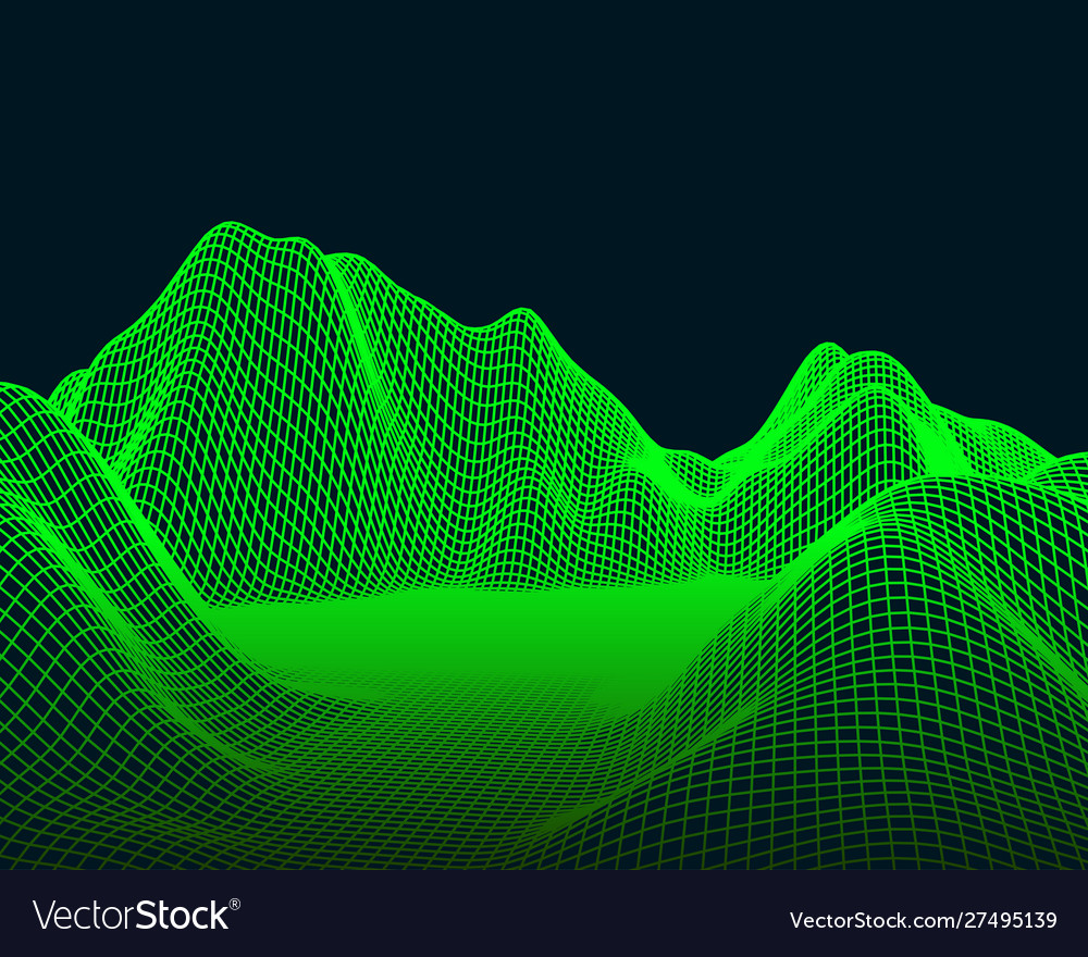 Abstract mesh landscape cyberspace grid data