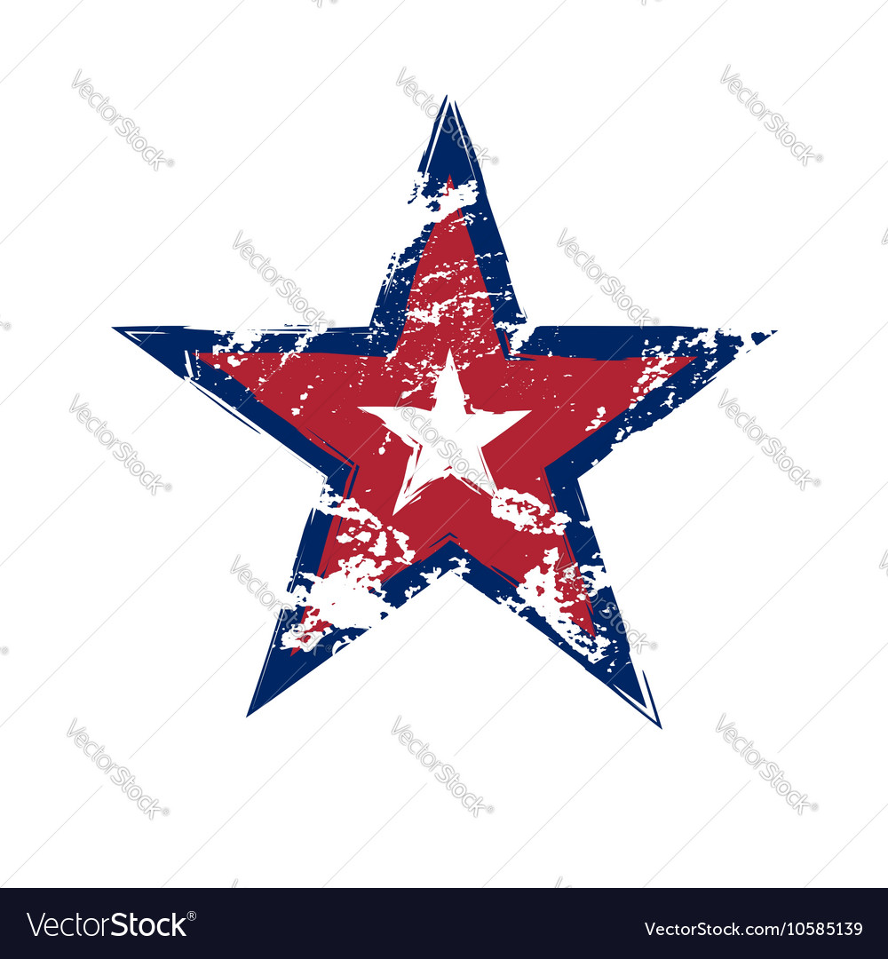 American flag star grunge element