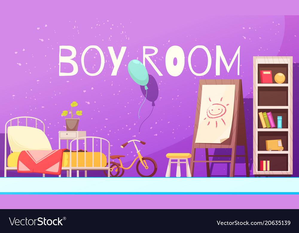 Boy room cartoon