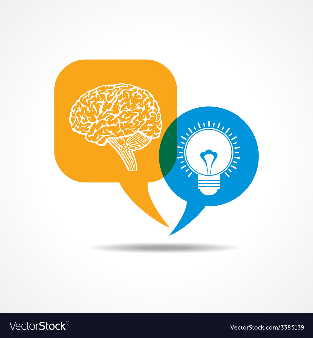 Brain and light-bulb in message bubble