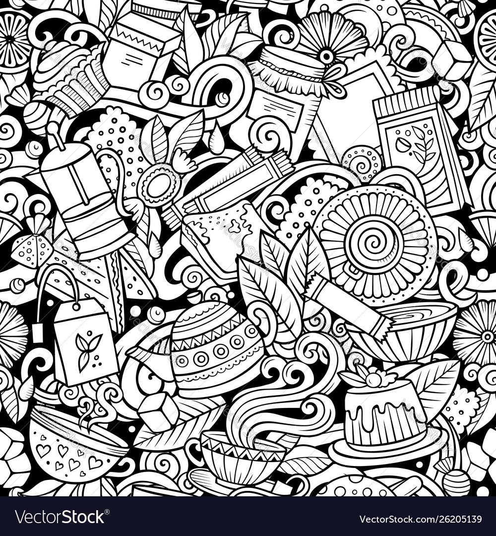 Cartoon cute doodles hand drawn tea house seamless