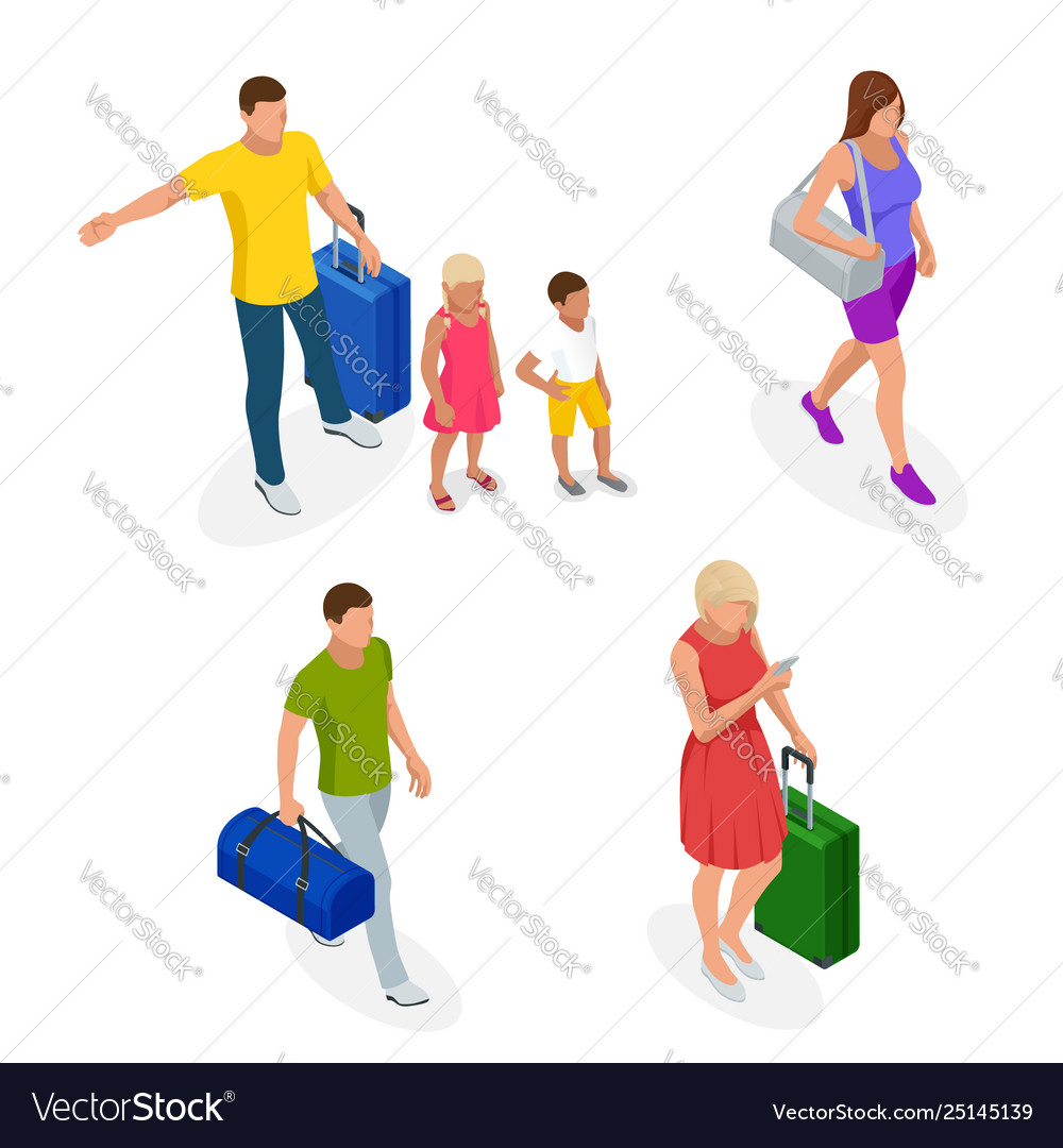 Isometric people with travel bag traveling