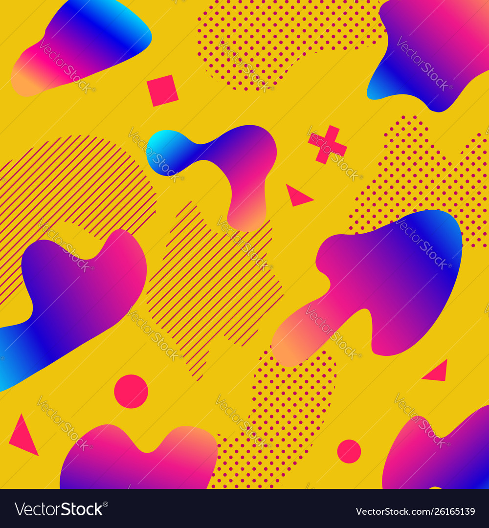 Liquid color background design with trendy shapes