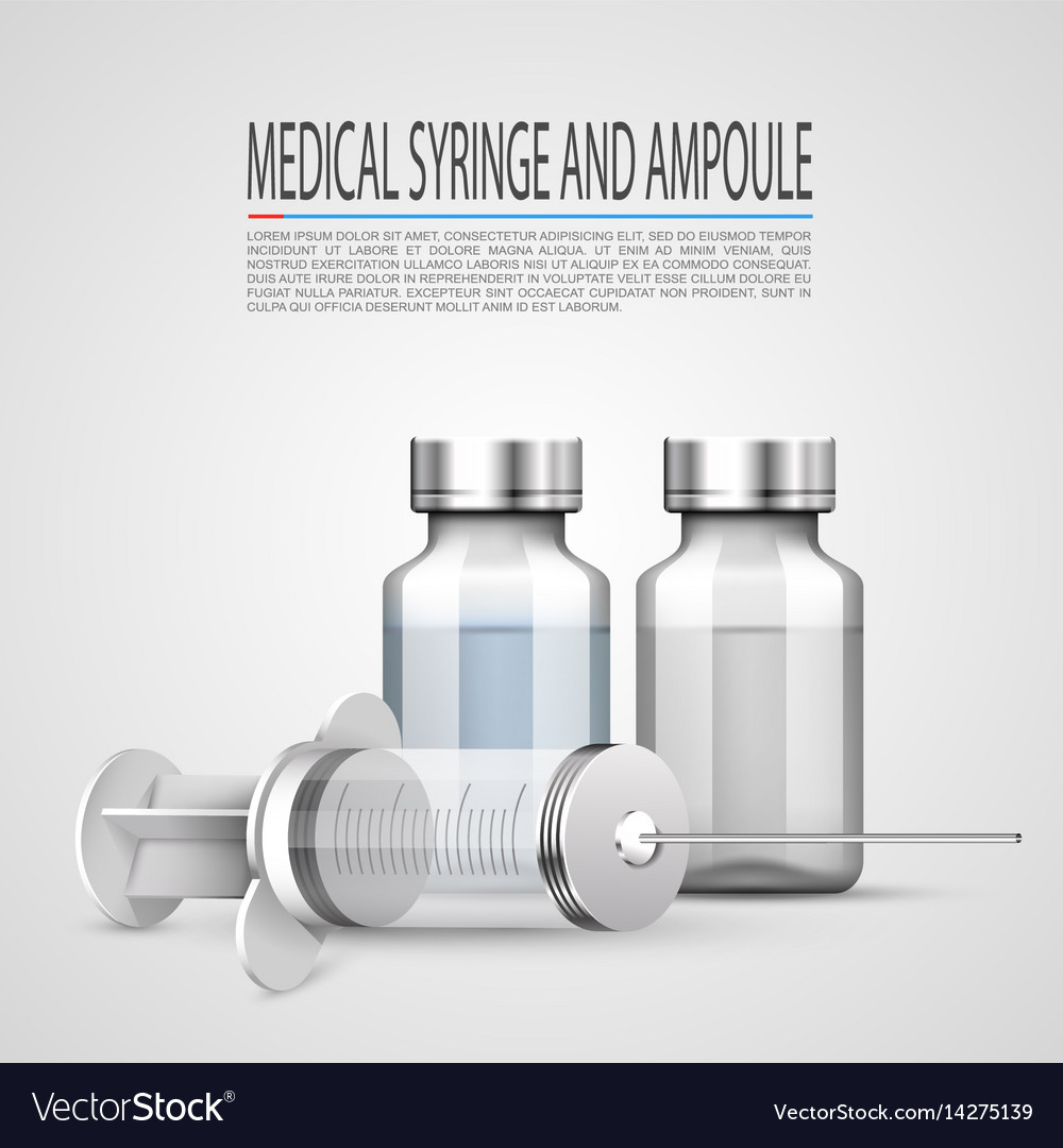 Medical syringe and ampoule objects on white