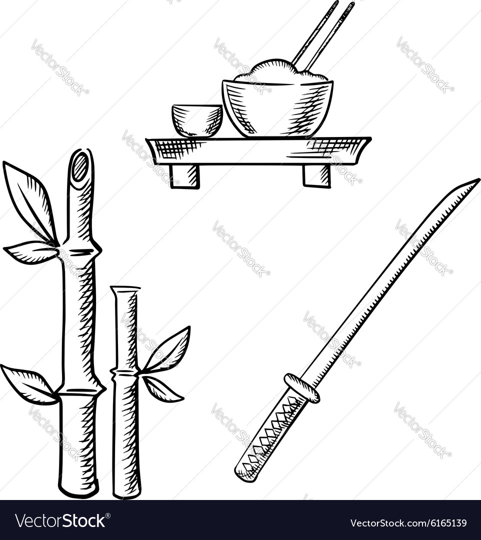 Rice sake bamboo and samurai katana vector image