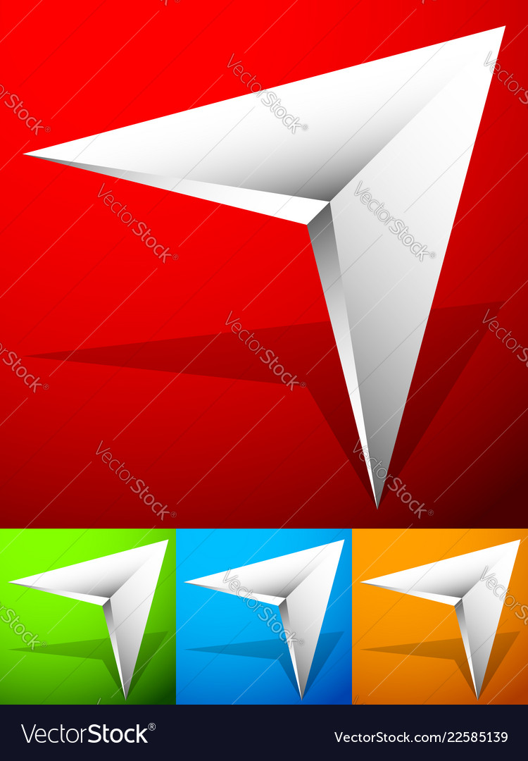 Sharp edgy 3d arrow icon in more color with bevel