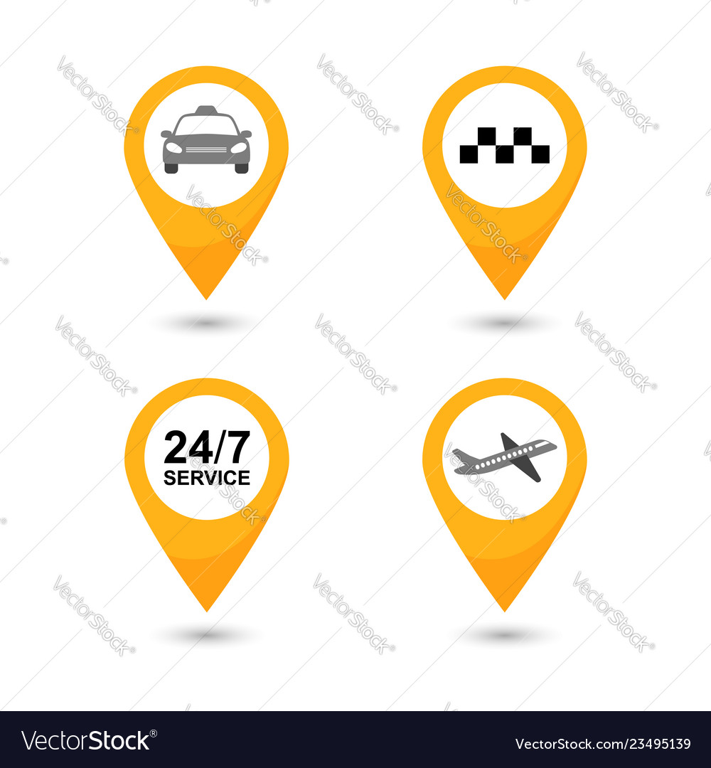 Taxi service icons set taxi map pointer
