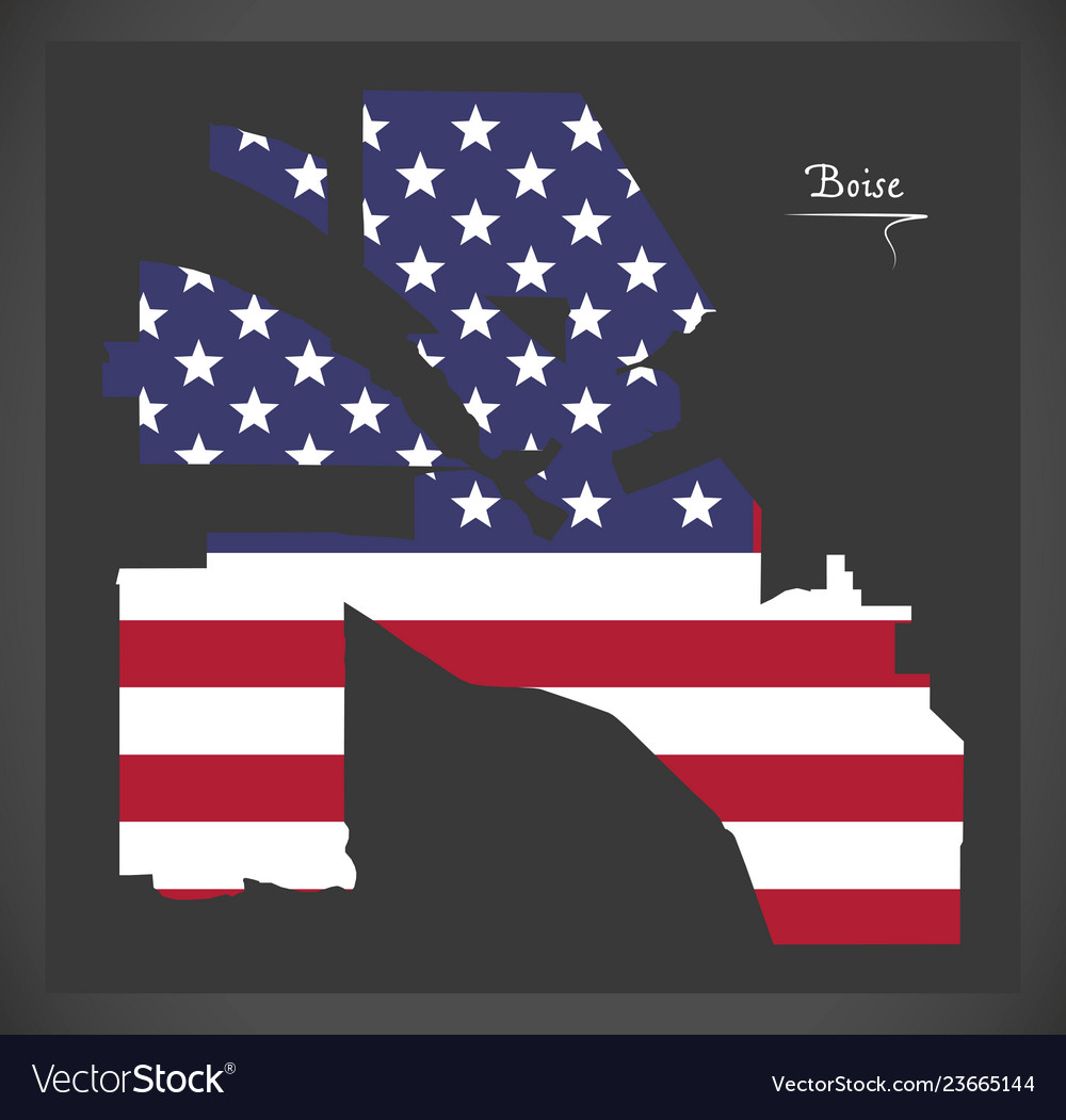 Boise idaho city map with american national flag Vector Image