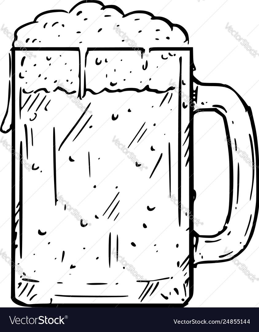 Cartoon Drawing Glass Beer Mug Or Pint Royalty Free Vector