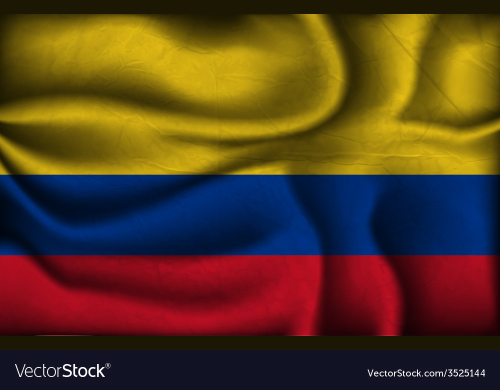 Crumpled flag colombia a light background