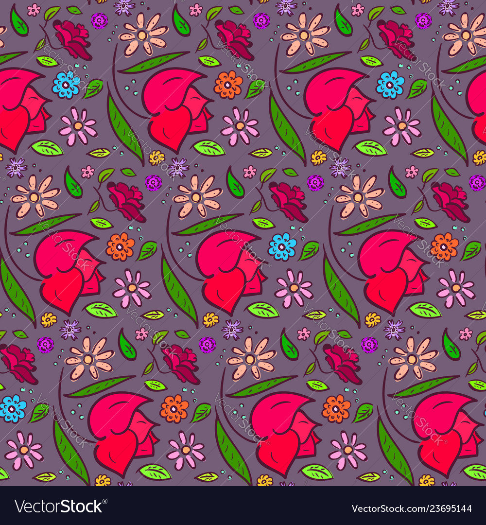 Dark romantic flowers pattern with big roses