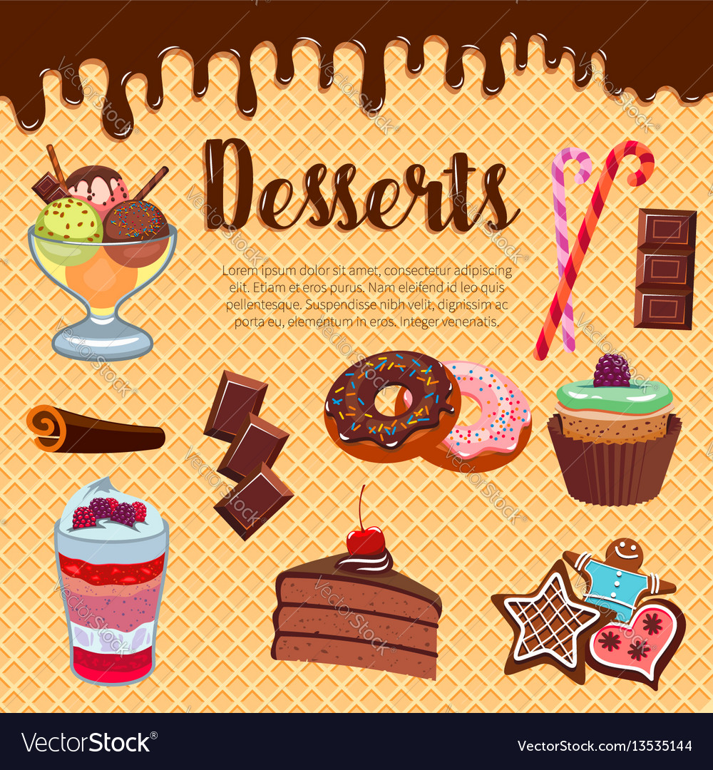 Desserts waffle and cakes poster