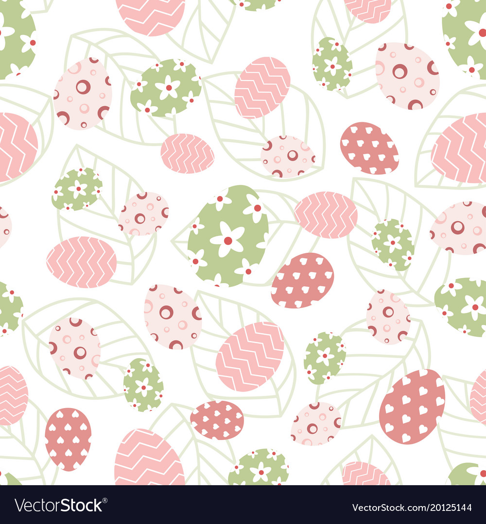 Easter pattern with eggs and leaves