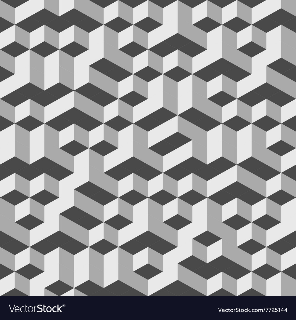 Grey Geometric Volume Seamless Pattern Background