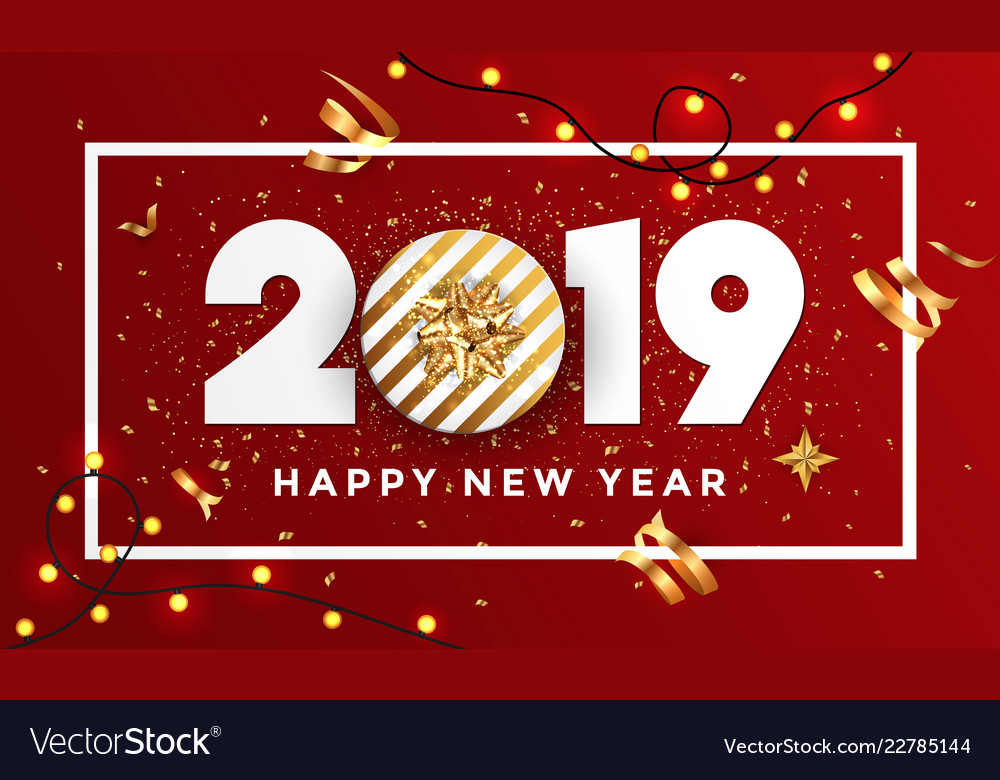happy new year 2019 banner with frame 3 vector image