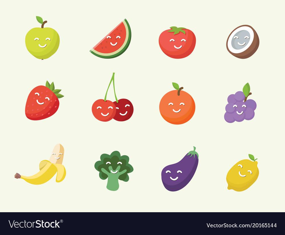 Happy smiling cartoon fruits icon