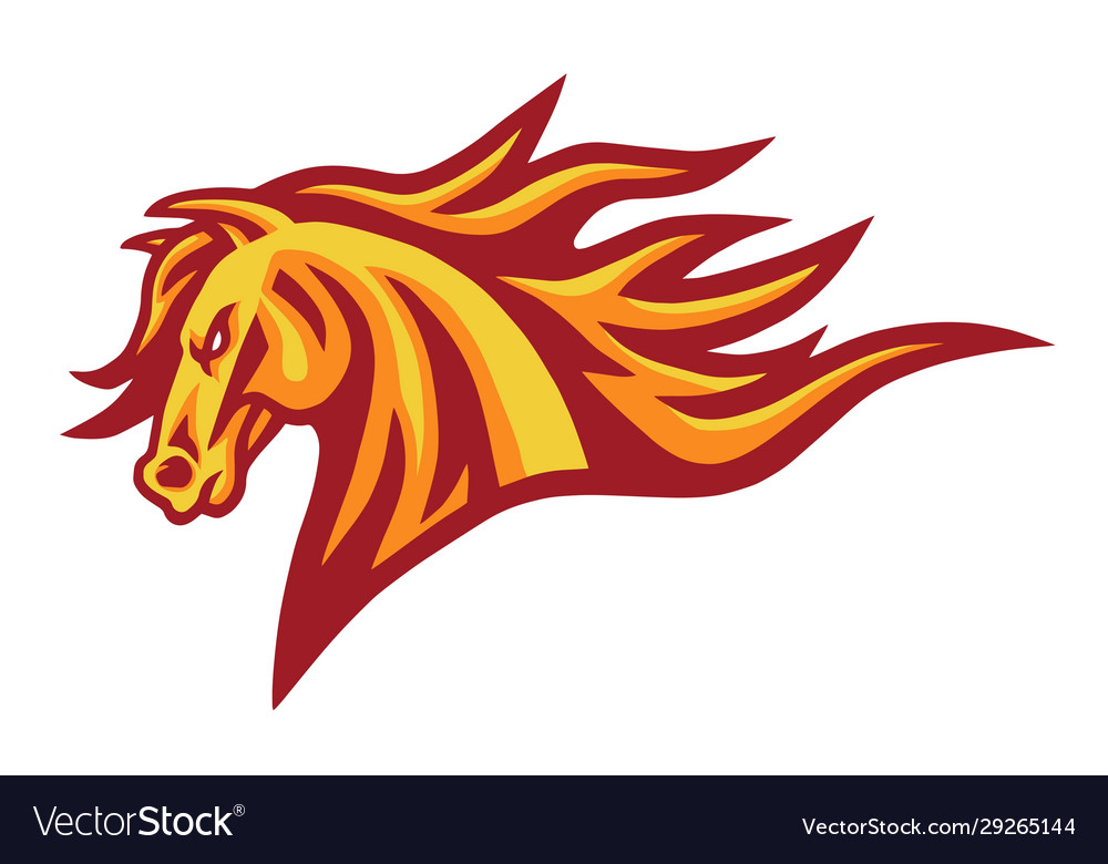 Horse mustang head fire burning flame logo