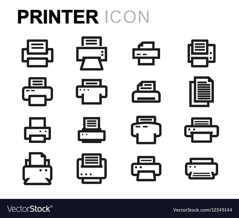 Line printer icons set vector image