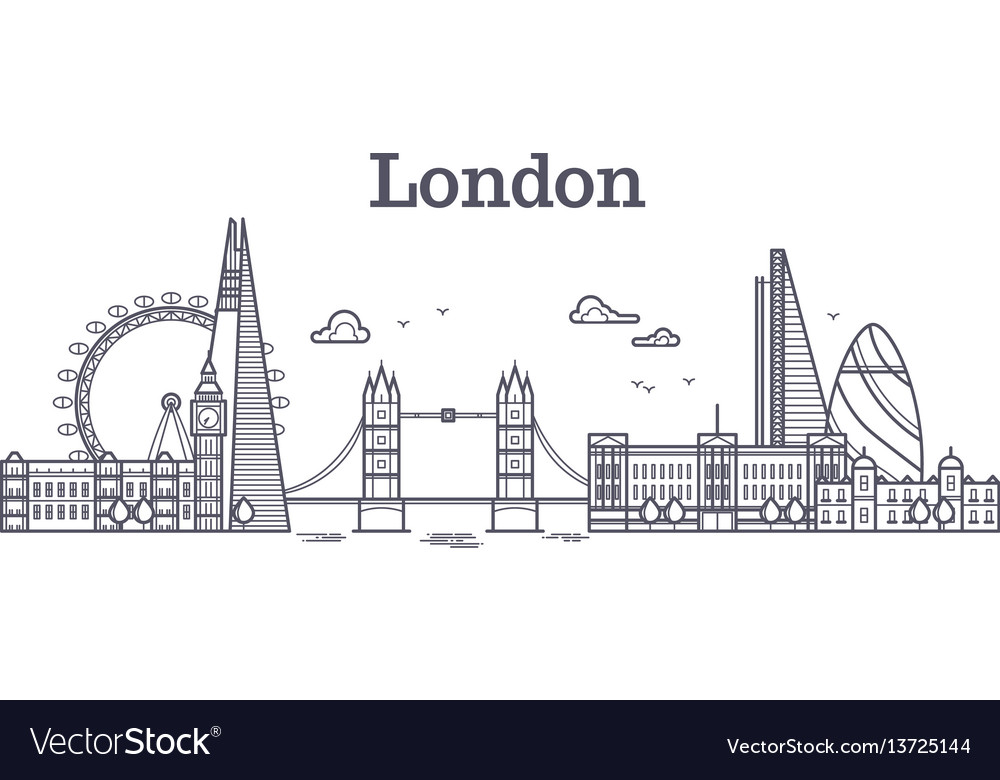 London city skyline with famous buildings tourism