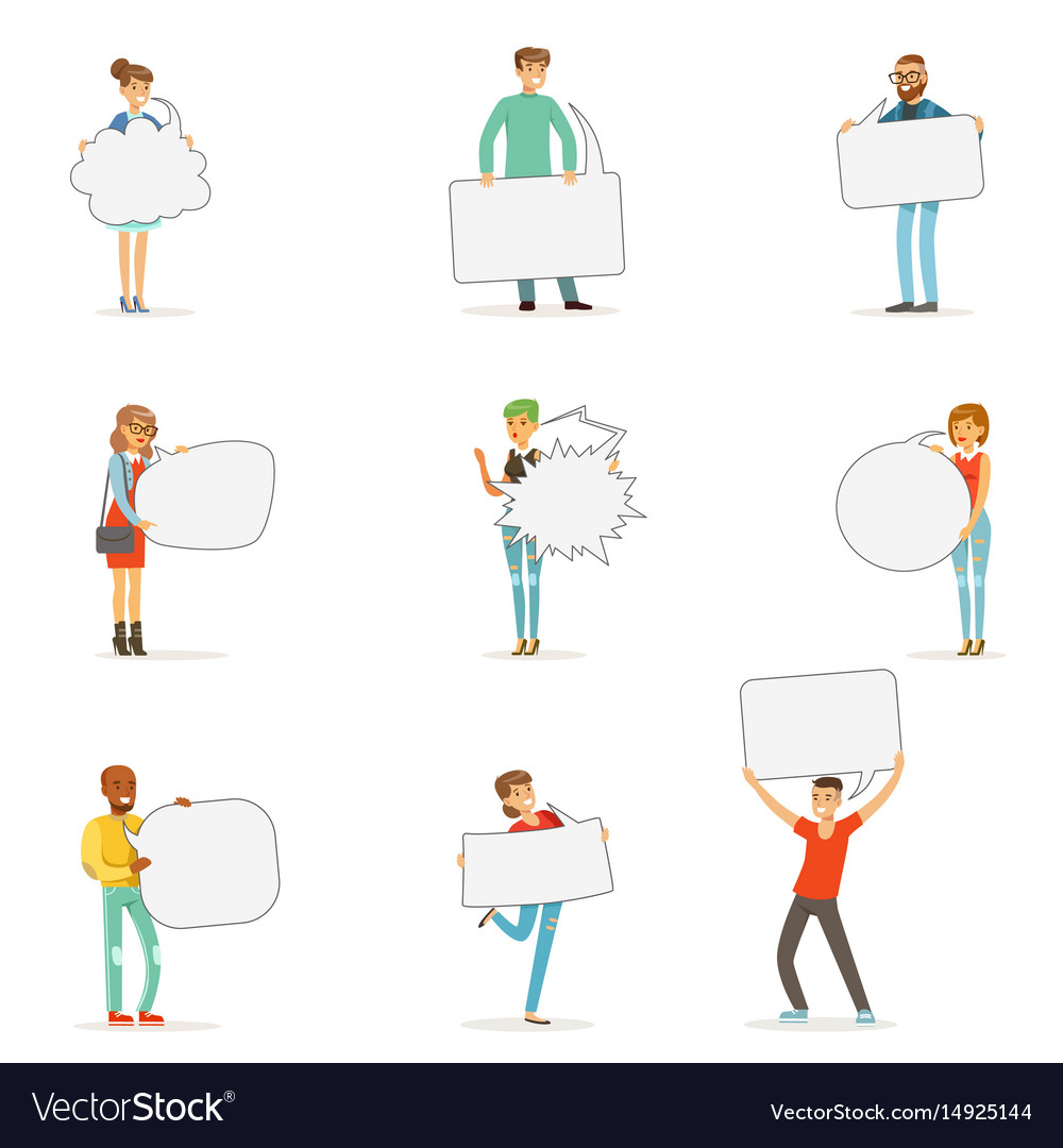 Man and woman standing and holding blank speech vector image