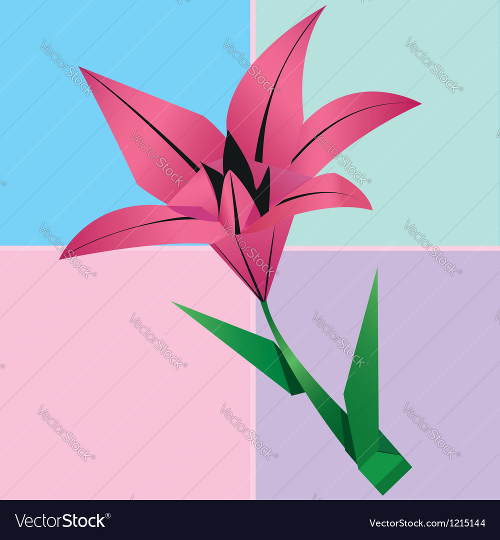 Origami lily flower card colorful floral vector image mightylinksfo