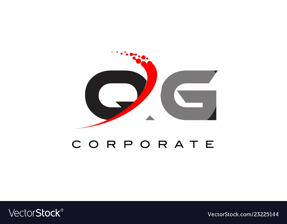 Qg modern letter logo design with swoosh