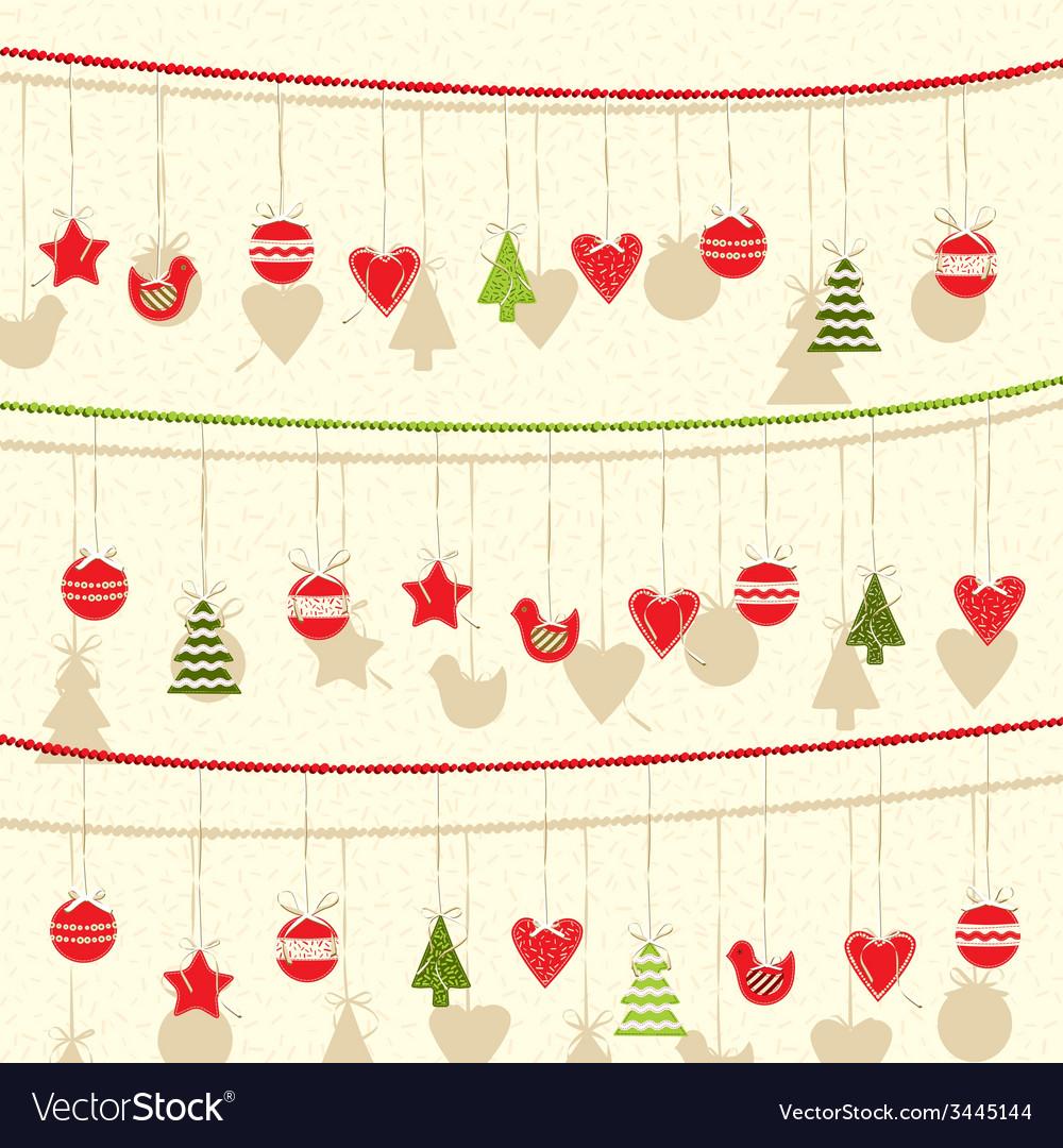 Retro Christmas Garland Background