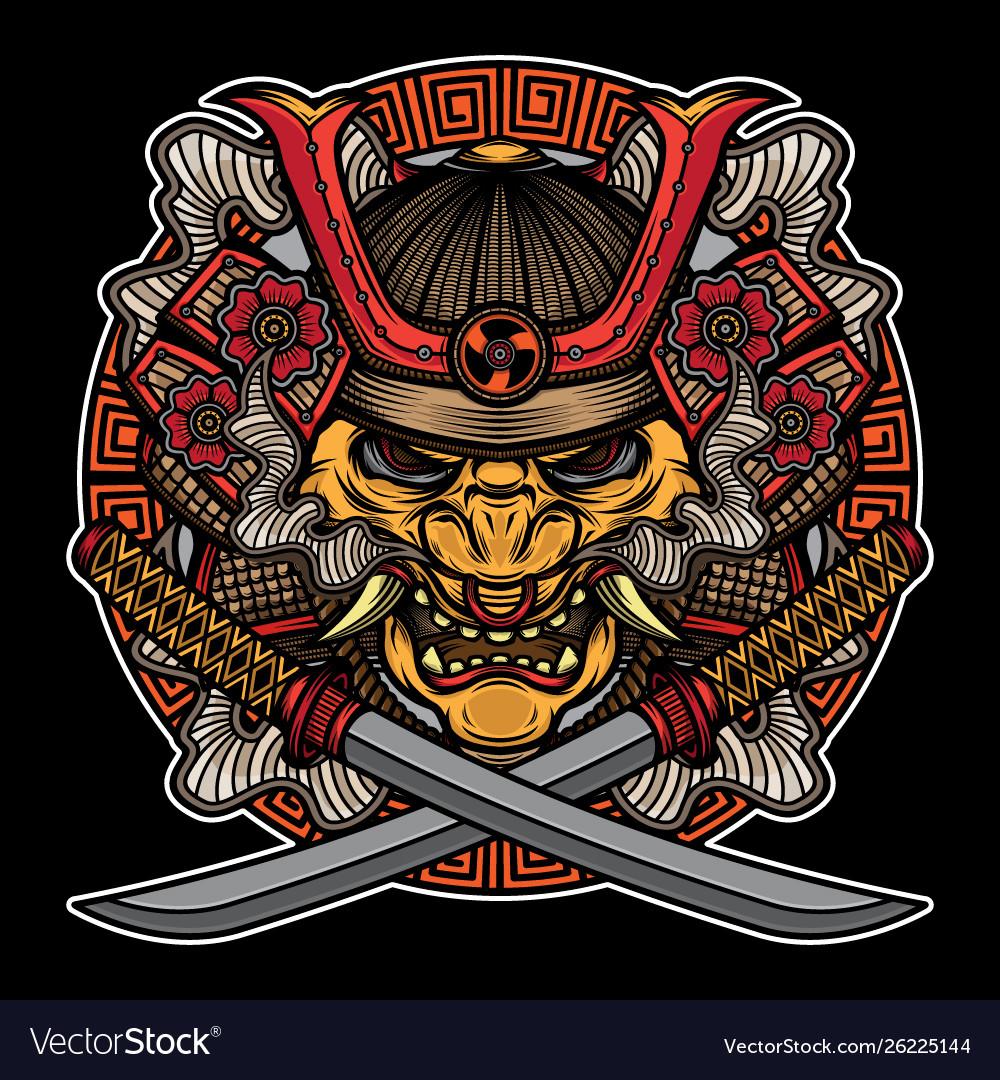 Samurai mask traditional tattoo
